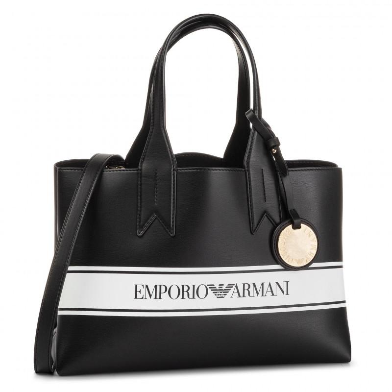 miglior valore prezzo moderato Vendita scontata 2019 Borsa Emporio Armani a mano logo Y3D153 YFG7A nero/bianco