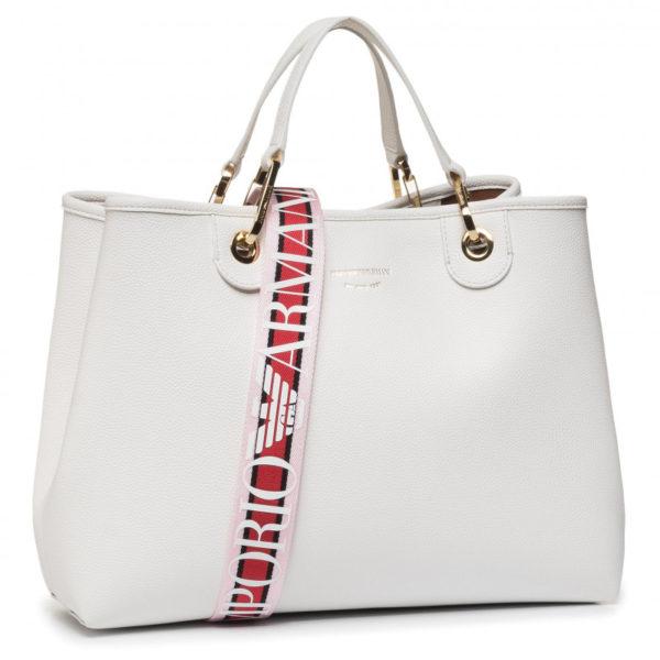 Borsa Emporio Armani a mano charm logo aquila Y3D159 YFN6J whiteleather
